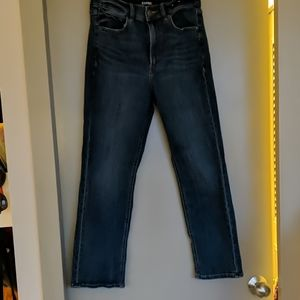Short, straight high rise jeans with stretch